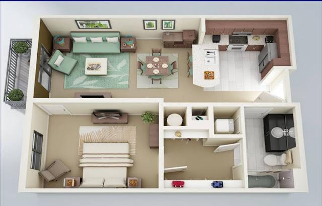 Thiết kế của căn hộ 1 phòng ngủ Vincity Gia Lâm