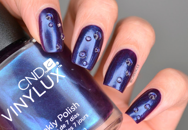 Water Droplet Nail Art with CND Vinylux Eternal Midnight