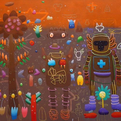 Tinuku Ronald Apriyan childhood decorative paintings in solo exhibition at Bentara Budaya Jakarta gallery
