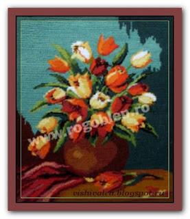 """Download embroidery scheme Rogoblen 7.08 """"Tulips"""""""