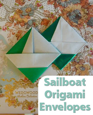 Sailboat Square Origami Envelope decorative pocket design papercrafting paper folding