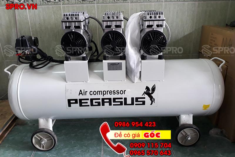 Máy nén khí, máy bơm hơi không dầu giảm âm Pegasus 3hp bình 100L giá rẻ