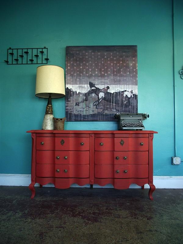 Vintage Ground Antique Red Six Drawer Dresser