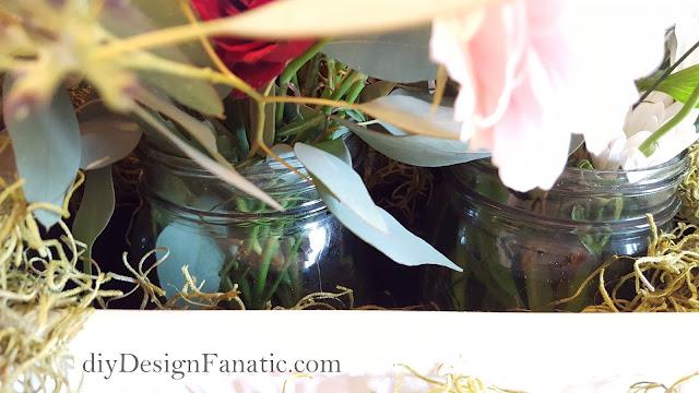 flowers, floral centerpiece, Mason jars, white pitcher, bridal shower, wedding shower, shower decorations,  farmhouse, cottage, diyDesignFanatic.com