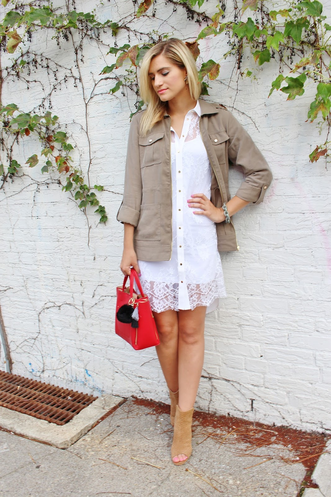 bijuleni- GUESS Military jacket and Isabell Guess lace button down dress