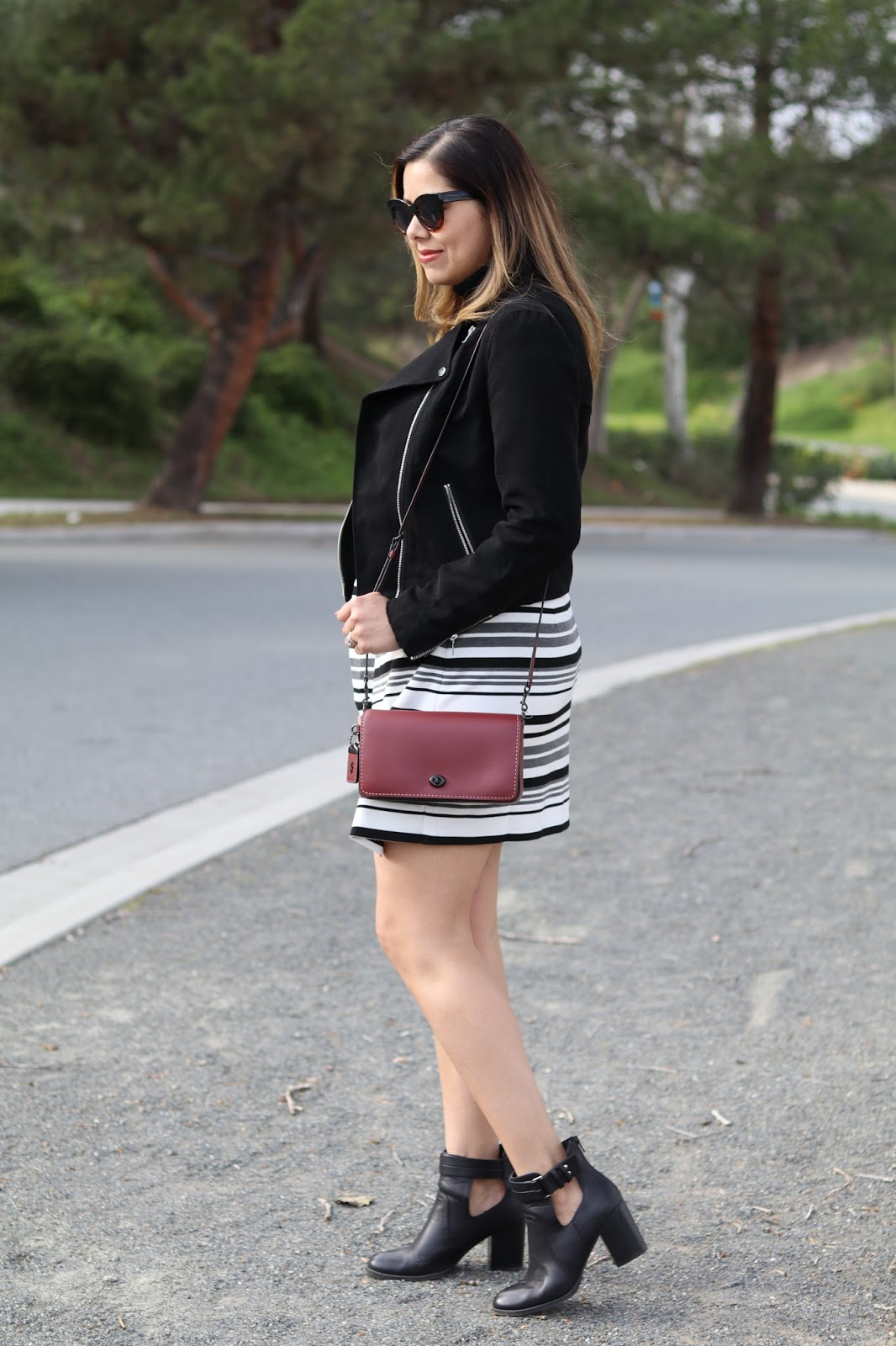 what to wear to a fun night, black suede moto jacket, how to wear a black moto jacket