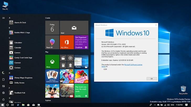 Windows 10 Insider Preview Build 17711 Dirilis Dengan Feature Baru