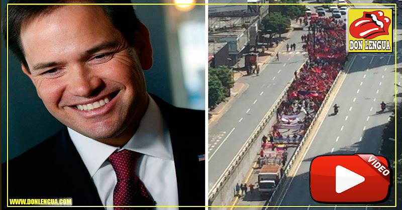 Marco Rubio de burló de la pequeña marcha de Maduro comparada con la de Guaidó