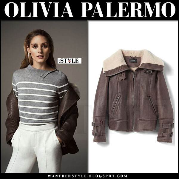 Olivia Palermo in grey striped sweater, brown leather bomber jacket and white pants banana republic holiday 2016 what she wore