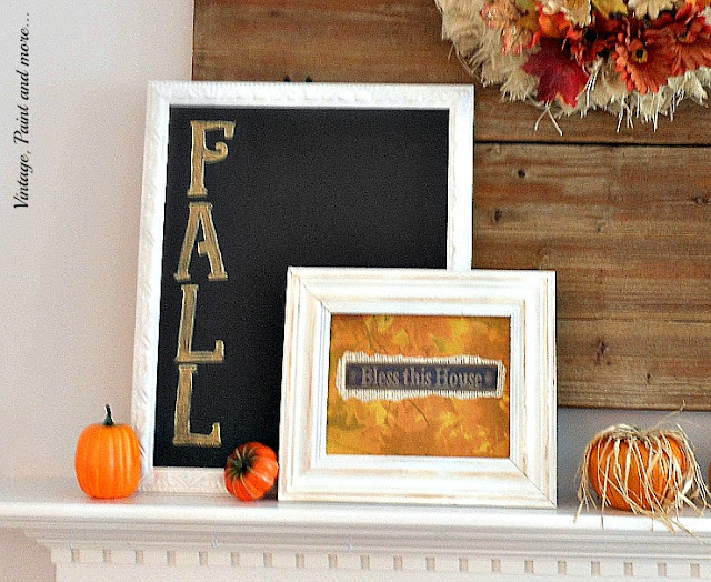 Vintage, Paint and more... Fall mantel done with thrift store finds and DIY chalkboard