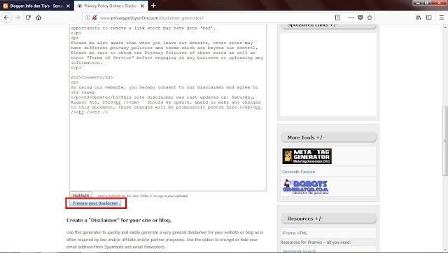 Atau Sobat bisa mengkopi versi jadinya dengan geser kebawah. Kemudian klik Preview  Your Disclaimer.