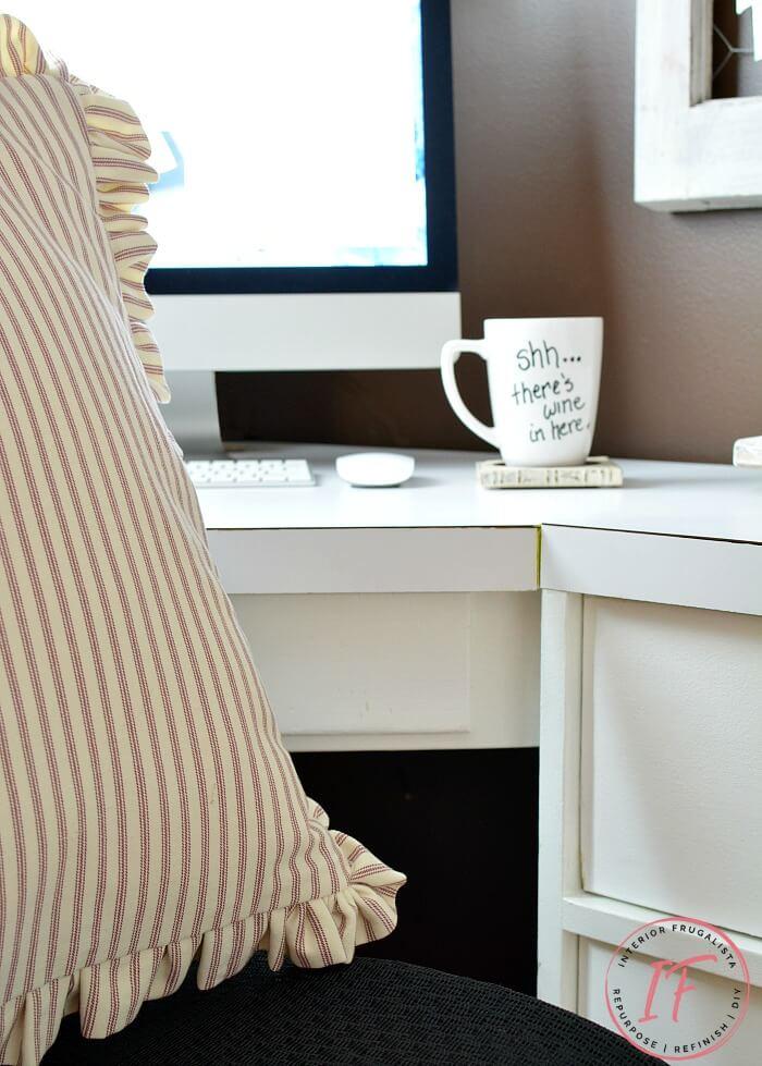 Farmhouse Ruffled Office Chair Bolster Pillow