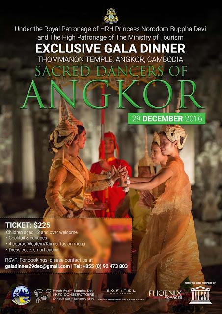 Dîner de gala avec les danseuses sacrées d'Angkor, le 29 décembre 2016