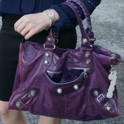 slouchy broken in balenciaga raisin purple work bag | awayfromtheblue