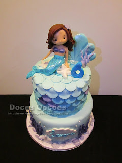 bolo aniversário sereia mar bragança