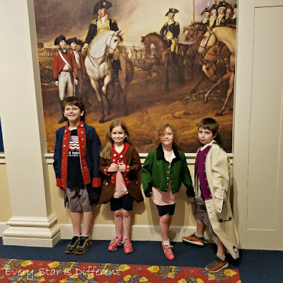 Dressing up as soldiers at the American Revolution Museum at Yorktown