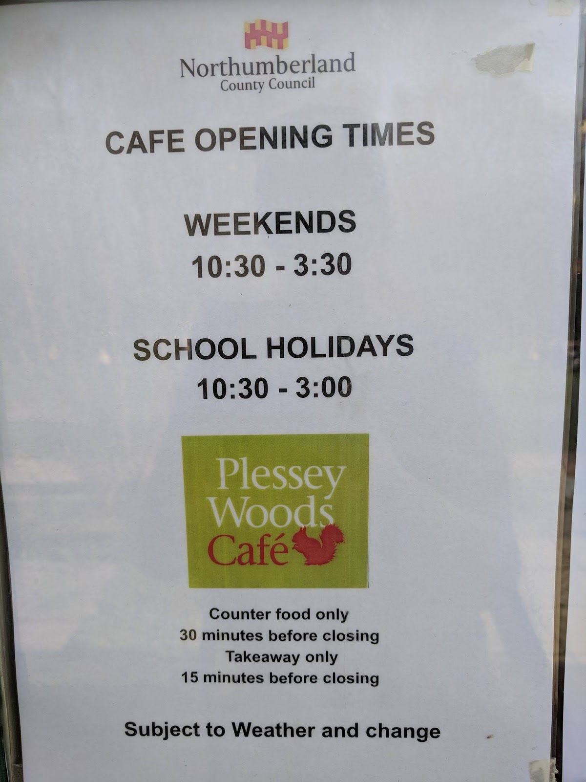 Plessey Woods Art Trail & New Play Park  - cafe opening times