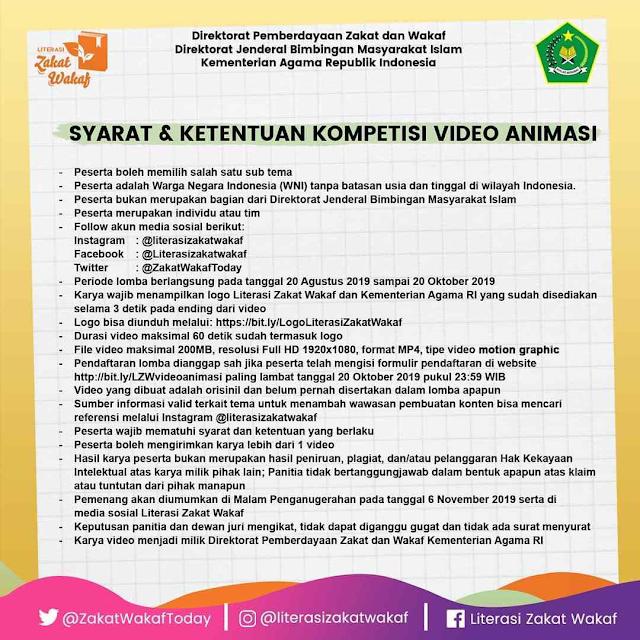 Lomba Blog dan Video Animasi Zakat dan Wakaf 2019