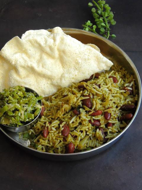 Palak Rajma Pulao, Spinach Kidney Beans Pulao