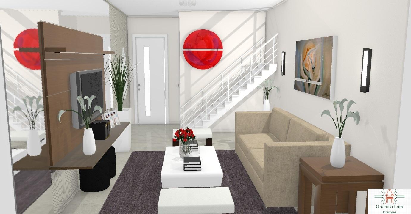 Construindo Minha Casa Clean Sala De Estar Pequena E Moderna  -> Decoracao De Sala Pequena Vermelha E Amarela