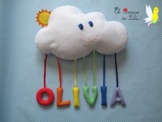 nombre-decorativo-en-fieltro-nube-arcoiris-personalizado-Olivia-decoración-infantil-detalle-de-nacimiento-name-banner-elbosquedelulu-hechoamanoparati