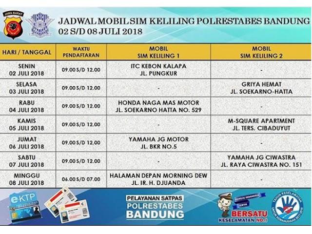 Jadwal SIM Keliling Polrestabes Bandung Bulan Juli 2018