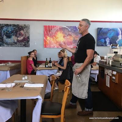 chef Collin Doran describes next course at monthly dinner at Homemade Cafe in Berkeley, California