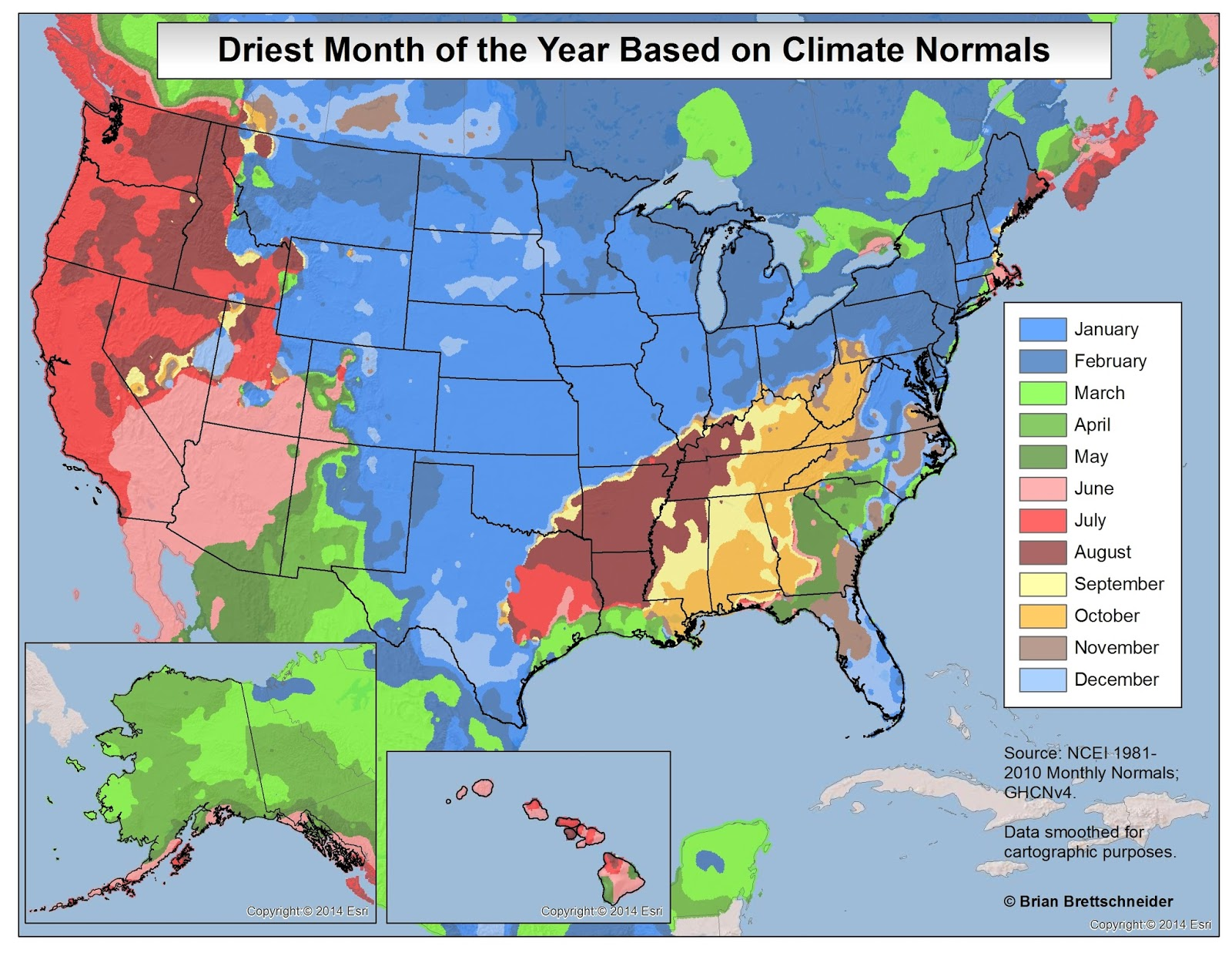 Driest month of the year based on climate normals