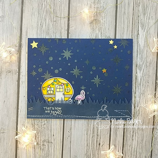 Camping night scene card by Naki Rager | Cozy Campers Stamp Set and Starfield Stencil by Newton's Nook Designs #newtonsnook #handmade