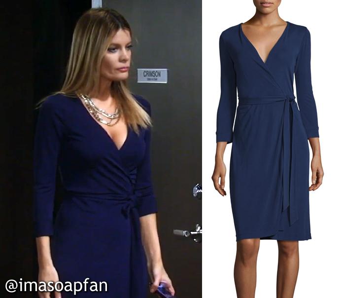 Nina Reeves, Michelle Stafford, Midnight Blue Wrap Dress, Diane von Furstenberg, DVF, General Hospital