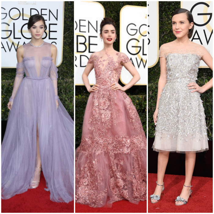 bbloggers, bbloggersca, canadian beauty bloggers, 2017 golden globes, best dressed, celebrities, red carpet, awards season, hailee steinfeld, lily collins, millie bobby brown, style, fashion, jenny packham, zuhair murad, vera wang