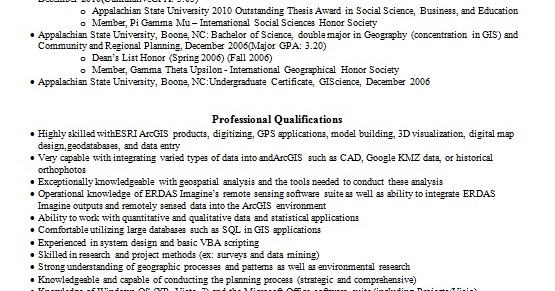 gis analyst sample resume format in word free download