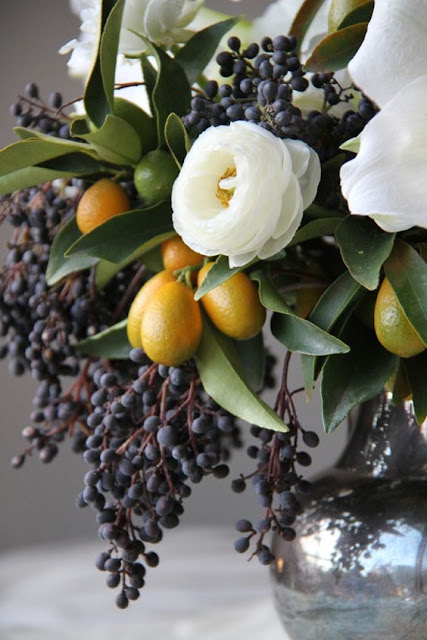 Gorgeous grapes in fall floral arrangement on Hello Lovely