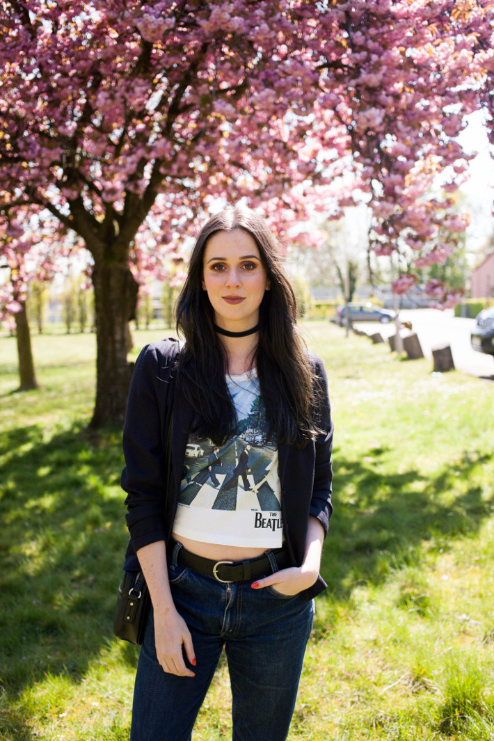 Outfit: abbey road crop top, choker and cherry blossoms