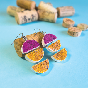 Wine Cork Geometric Earrings