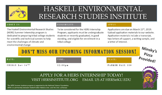 The Haskell Environmental Research Studies (HERS) Institute is now accepting applications for paid summer internships