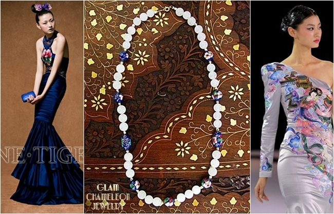 Glam Chameleon Jewelry blue cloisonne beads rose quartz necklace