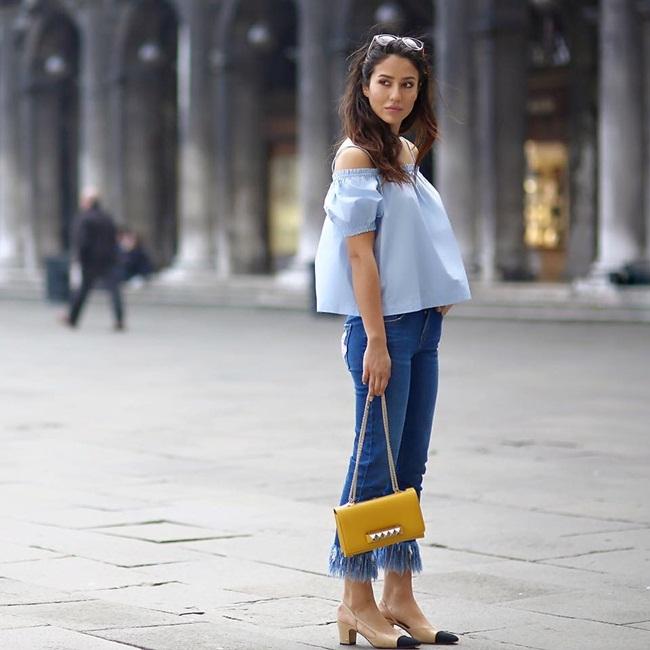 Bershka 2016 Spring Long Fray Cropped Jeans