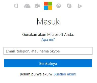 Halaman Login Akun Microsoft Virtual Academy