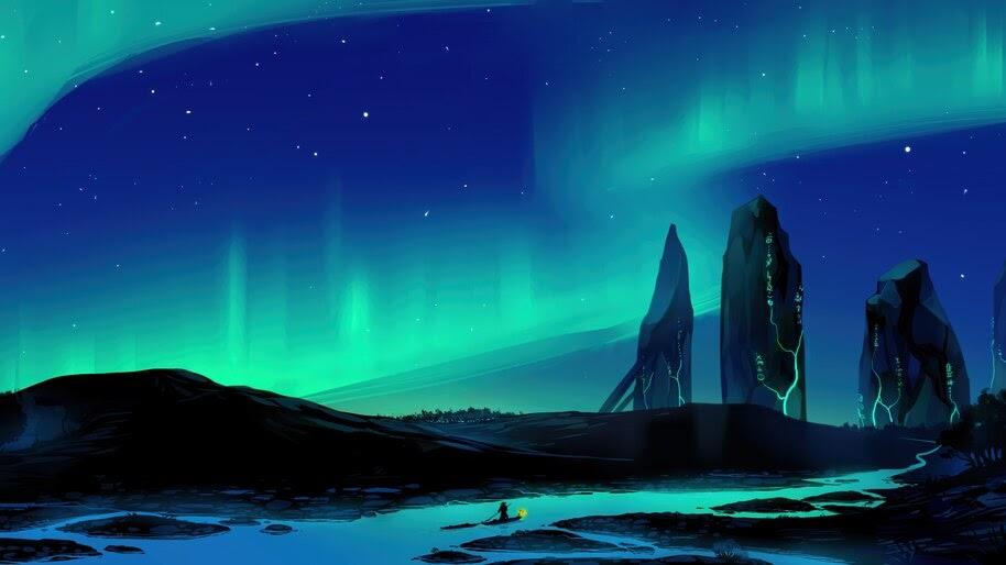 Night, Sky, Aurora Borealis, Beautiful, Digital Art, Scenery, 8K, #6.1054