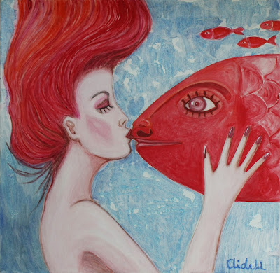#AideLL #romantic art #mixed media #red hair #fish #cold #illustration #nursery art