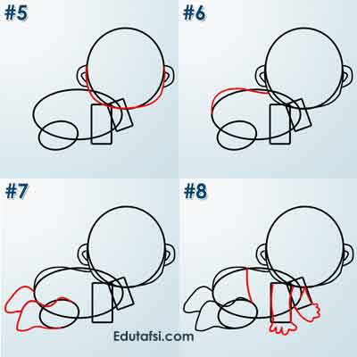 Belajar menggambar kartun bayi lucu
