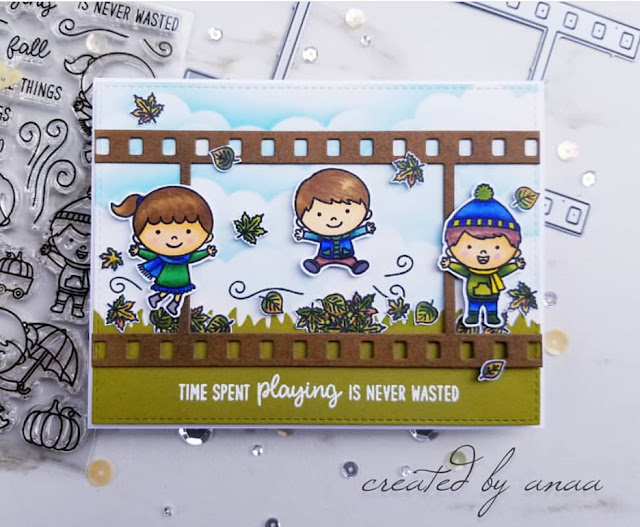 Sunny Studio Stamps: Fall Kiddos Fall Flicks Filmstrips Customer Card Share by Ana A