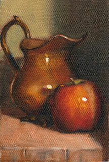 Oil painting of a copper jug beside a red apple.