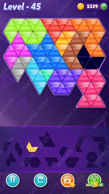 Block! Triangle Puzzle Champion Level 45 Solution, Cheats, Walkthrough for Android, iPhone, iPad and iPod