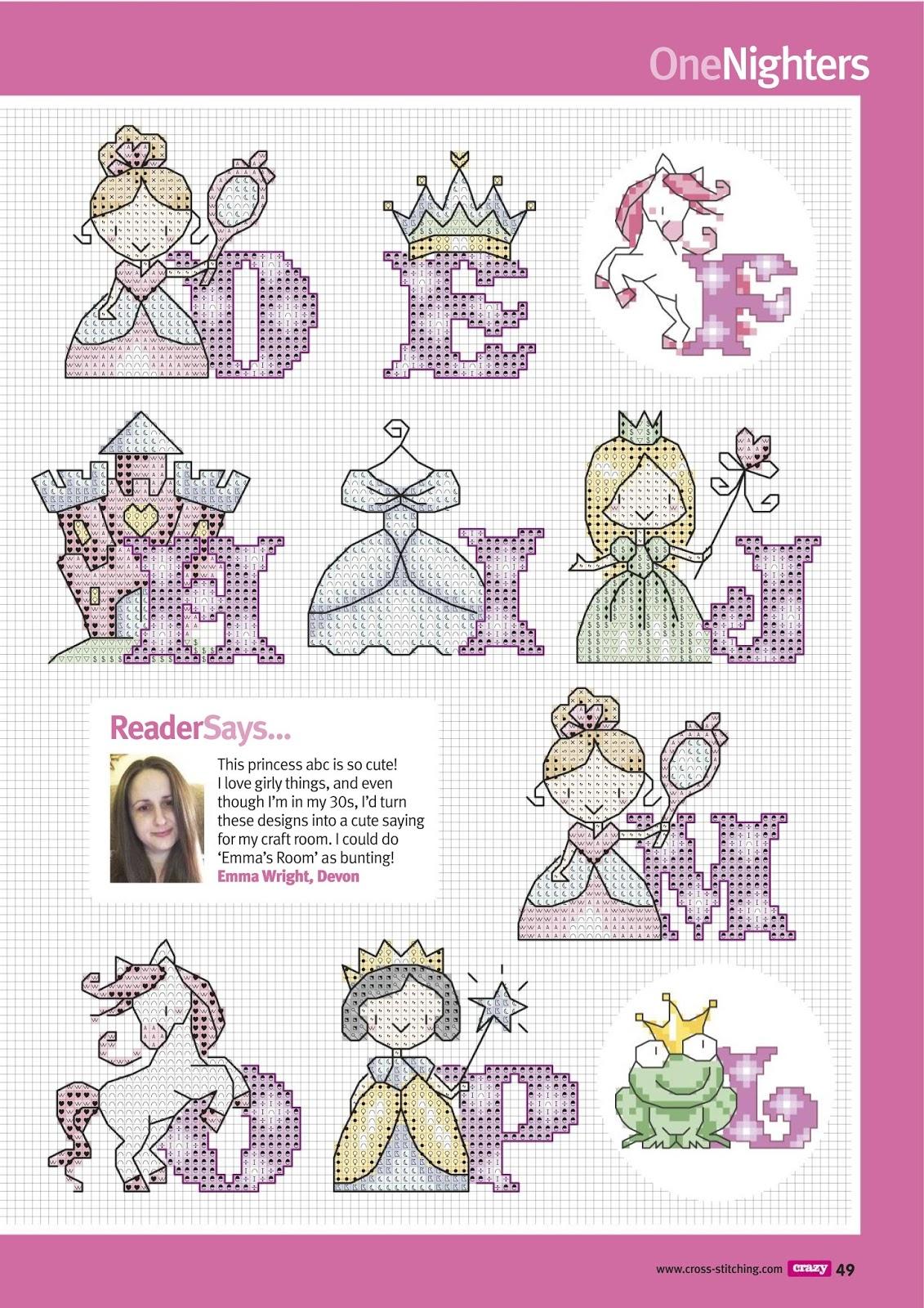 Alfabeto Para Punto De Cruz De Princesas Oh My Alfabetos