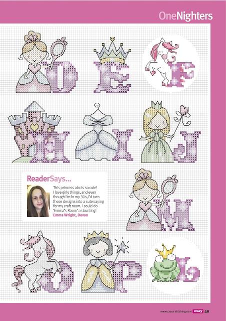 Alfabeto para Punto de Cruz de Princesas.