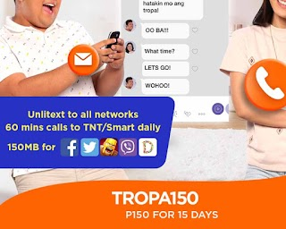 Talk N Text TROPA150 – Unli Text to All + Facebook Daily for 15 Days
