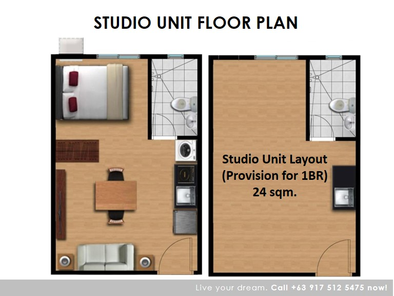 Floor Plan of Studio 24 Sqm (Move-In Ready) - Camella Condo Homes Las Pinas | Condo for Sale Las Pinas City