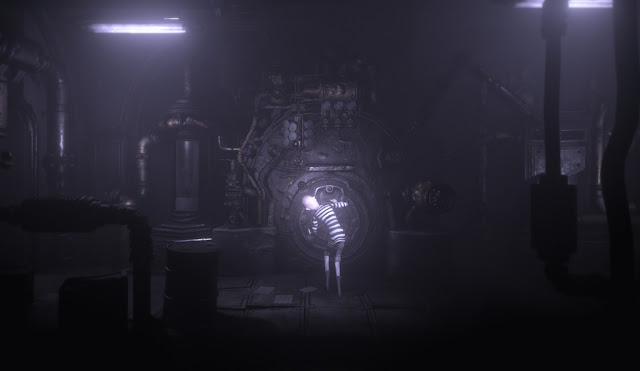 A screenshot showcasing a gloomy, monochrome environment with a complicated device at the center.